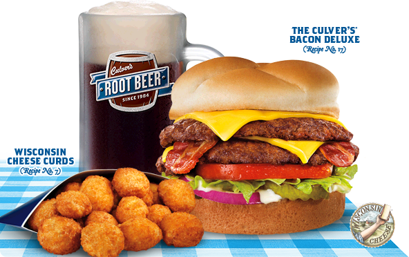 The Culver's Tasty Trio - The Culver's Bacon Deluxe, Cheese Curds, and Root Beer