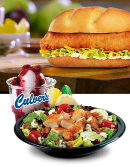 Culver's Atlantic Cod Filet Sandwich, Lemon Ice and Cranberry Bacon Bleu Salad with Grilled Chicken