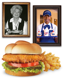 Culver's Team Members, Crispy Chicken Sandwich and Crinkle Cut Fries
